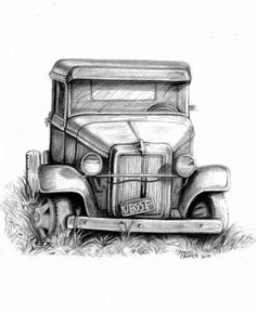 Resultado de imagen para pencil drawings of old trucks Perfect inspiration for Grandpa Car Drawing Easy, Car Drawing Pencil, Cool Car Drawings, Cartoon Drawings, Easy Drawings, Drawing Sketches, Pencil Drawings, Drawing Ideas, Drawing Tips