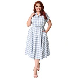 8ae205334909 Unique Vintage Plus Size 1950s Style Light Blue & White Gingham Alexis  Short Sleeve Swing Dress