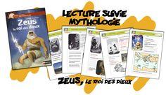 Lecture suivie ; Zeus , le roi des dieux Cycle 3, Baseball Cards, Portuguese, Reading, School, Kids, Greek History, Greek Mythology, Toddlers