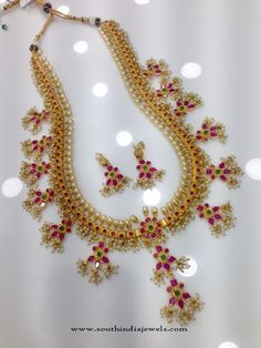 1 Gram Gold Long Guttapusalu Haram Designs, One Gram Gold Long Guttapusalu Necklace Models.