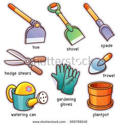 Vector illustration of Cartoon Garden tools vocabulary