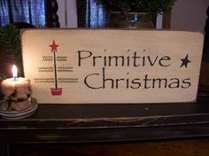 Primitive Christmas Wood Sign. $15.00, via Etsy.