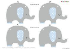 Free printable baby shower bunting - perfect for an elephant baby shower.