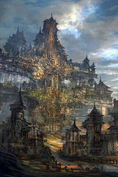Fantasy landscape cities scenery digital art ideas for 2019 Fantasy City, Fantasy Castle, Fantasy Kunst, Fantasy Places, Sci Fi Fantasy, Fantasy World, Digital Art Fantasy, Fantasy Dragon, High Fantasy