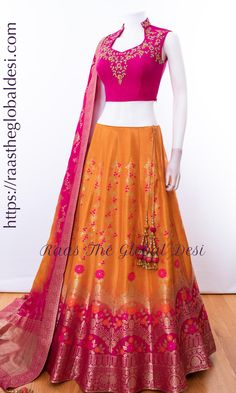 chaniya choli Fabric : silk Work : embroidery occation : wedding Wear a lavish glow in this pink & yellow designer lehenga choli set featuring zari & weave accentuation along the bottom Indian Lehenga, Half Saree Lehenga, Lehenga Choli Online, Silk Lehenga, Yellow Lehenga, Lengha Choli, Lehenga Blouse, Lehenga Choli Designs, Designer Lehnga Choli