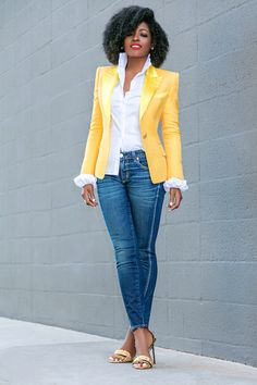 Stylish blazer outfits for business women 2019 Casual Work Outfits, Classy Outfits, Chic Outfits, Trendy Outfits, Fashion Outfits, Yellow Blazer Outfits, Dress Outfits, Blazer Fashion, Look Blazer