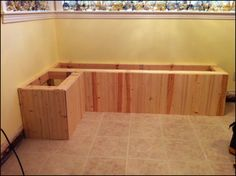 Sawdust Designs: I'd Like the Booth in the Corner Please Corner Booth Kitchen Table, Booth Seating In Kitchen, Corner Bench Seating, Kitchen Booths, Floor Seating, Kitchen Benches, Kitchen Nook, Corner Banquette, Kitchen Banquette