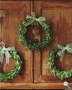 mini boxwood wreaths..these are a great idea to hang over cabinets or twin doors