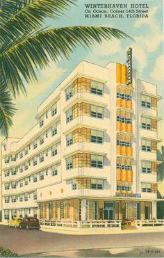 Old Florida Postcard. Art Deco Hotel, Miami Art Deco, Vintage Florida, Old Florida, Miami Florida, Miami Beach Hotels, Vintage Hotels, Vintage Travel, Art Deco Buildings