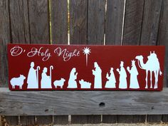 Christmas Decor Nativity Sign Holiday Decor Mantle Decor by LilMissScrappy