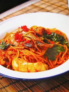 Curried seafood spaghetti recipe...an Asian twist.