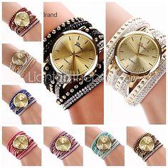 Mulheres Relógio de Moda Quartz Couro Banda pulseira Preta / Branco / Azul / Vermelho / Roxa - BRL R$15,20