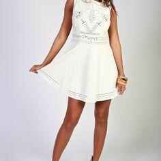White faux leather laser cut dress