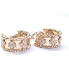 Pre-owned Van Cleef & Arpels 18K Perlee Clover Hoop Rose Gold Diamond... ($13,000) ❤ liked on Polyvore featuring jewelry, earrings, round diamond earrings, four leaf clover earrings, clover earrings, hoop earrings and pink gold hoop earrings
