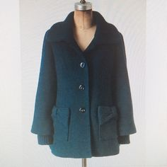 """Anthropologie Tabitha teal wool blend swing coat Adorable! Big knit rounded collar, knit bows top two front pockets. Big curvy buttons. Fully lined. Gorgeous deep teal color is closest to first photo. Only flaw is the cuffs are torn-- hence the low price. But you can cuff them or even cut them out and wear this beauty with long gloves or your favorite bracelets. Pit to pit:19"""". Length 28"""". Shoulders 16"""" Anthropologie Jackets & Coats Pea Coats"""