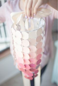This ombre chandelier would be an adorable decoration for a #babyshower. #paintchip (Photo by: Hey Gorg)