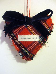 2012 tartan heart christmas tree decoration by the house of jam and weasel | notonthehighstreet.com