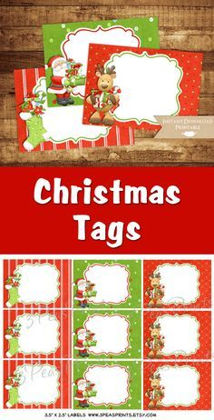 Printable Christmas Tags/Labels. Instant download.  Christmas Tags, #affiliate