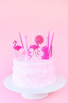 Flamingo Birthday Cake Candles