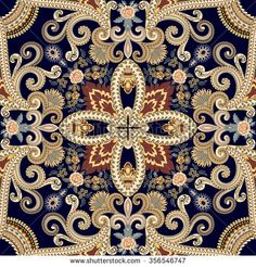 seamless pattern with paisley and flowers in beige tint on a dark blue background