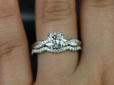 Tressa 14kt White Gold Cushion FB Moissanite and by RosadosBox