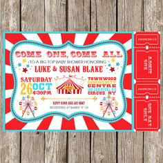 Current processing time: 24-48 hours  Printable file only. NO PRODUCTS WILL BE SHIPPED. Personal use only.  This listing is for a customized Vintage Carnival/Circus invitation.  When you purchase this digital file, you will receive a high resolution JPEG of this card customized with your wording.  HOW TO ORDER:  • When payment is complete please send in your custom wording to little.ms.shutterbug@gmail.com or in the Note to Seller. Please include the following details:  * Event: Shower or…
