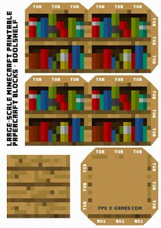 Large Scale printable Minecraft Bookshelf. #minecraft #printable #papercraft