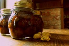 μεθυστικά κάστανα Xmas Ideas, Cooking Time, Syrup, Preserves, Pickles, Cucumber, Mason Jars, Sweets, Baking