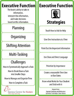 Executive Functioning Skills~ Re-pinned by Total Education Solutions.  Check out the rest of our School Resources and Therapy pins @ pinterest.com/...