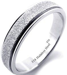 Ladies Silver Sparkle Inlay 316 Steel Wedding Engagement Band Ring 7mm - Size W
