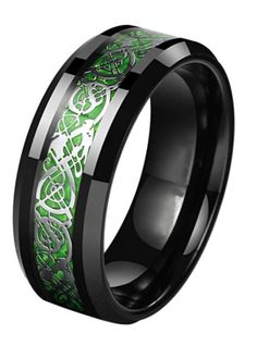 Men's unique Celtic wedding band with Green Inlay and Black