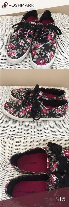 ❗️Firm Price❗️American Eagle AE shoes Floral shoes. Black, wine, green, and white.  Brand new without box. Never used. This need get out of my closet. Comfortable.  Size 6 1/2 American Eagle by Payless Shoes Sneakers