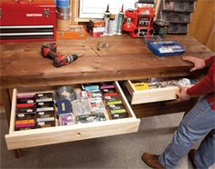 Pretty basic plan to add some shallow drawers to any workbench. Seems like I could do this with 1x4 and some brad nails.
