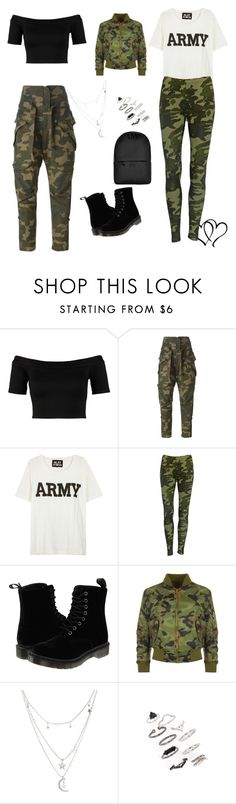 Dual Camouflage by shaniqua-johnson on Polyvore featuring NLST, Miss Selfridge, Liquor n Poker, Faith Connexion, Dr. Martens, Rains, Topshop and Charlotte Russe