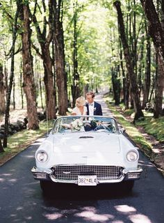 Wedding Portrait in Classic Car   Photo: Tec Petaja. View More:  http://www.insideweddings.com/weddings/childhood-friends-celebrate-wedding-at-marriott-familys-lake-house/866/