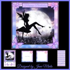 BUTTERFLY FAIRY mini kit 8x8 by Jane Minto This kit contains8x8 card front decoupage sentiments and two matching inserts.Sentiments areBeautiful Daughter Happy Birthday Daughter Butterfly Fairy Especially for you Our Daughter To My Sister. Blank one.