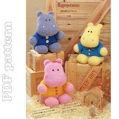 crocheted hippos patterns | Amigurumi Hippo Plush Crochet Pattern PDF | CraftyLine e-pattern shop