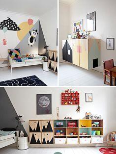 Висящие на стене шкафы создают ощущение простора в детской и упрощают уборку. (спальня,дизайн спальни,интерьер спальни,скандинавский,скандинавский интерьер,скандинавский стиль,интерьер,дизайн интерьера,мебель) .