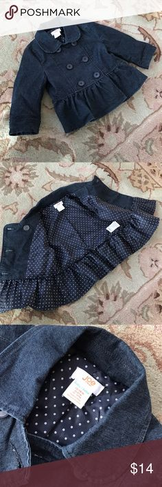 Joe Fresh✨Baby Denim Jacket So sweet! Dark denim, ruffled hem, polka dot lining, double breasted jacket. 12-18 month Joe Fresh Jackets & Coats