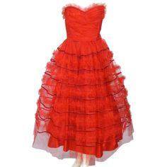 beautiful 1of a kind...1950's Strapless Red Tulle {Holiday} Dress