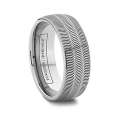 ILLUSION 6MM/8MM Striped Feathered or Zebra Pattern Tungsten Ring Tungsten Wedding Bands, Wedding Rings, Tire Tread, Feather Ring, Tungsten Carbide Rings, Platinum Ring, White Gold Rings, Cool Gifts, Rings For Men