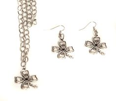 Flower Necklace & Earring Set - Silver Plated - My Favorite Beads