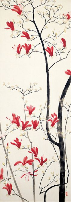 Magnolia Tree ( 1919) colour on silk byKobayashi Kokei (1883 - 1957).  Adachi Museum of Art