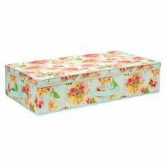 """Canvas storage box with an ikat floral motif.   Product: Storage boxConstruction Material: CanvasColor: Teal, pink and greenDimensions: 6"""" H x 28"""" W x 16"""" D"""
