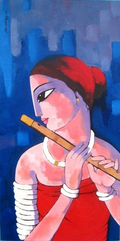 Krishna Painting, Krishna Art, Lord Krishna, African Art Paintings, Colorful Paintings, Sketch Painting, Figure Painting, Indian Contemporary Art, Contemporary Artwork