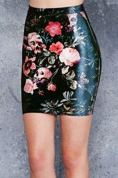 Garden of the Dead Velvet mini skirt S
