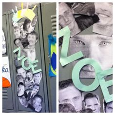 Decorated my friend Zoe's locker for her birthday. Left my wrapping paper at home, so I figured attractive celebrities would do the trick.