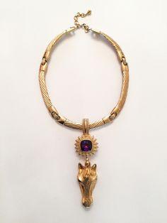 Antique Cast and Jeweled Pony Art Decor, Pony, Amethyst, Jewelry Design, Auction, It Cast, Horses, Pendant Necklace, Antiques