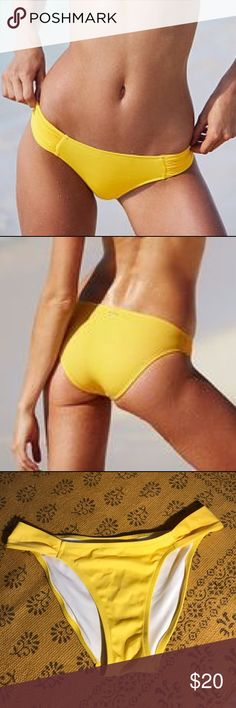 Victoria's Secret yellow knockout bikini bottoms Super cherry yellow bottoms from Victoria's Secret. These swimsuits are no longer available, as VS has discontinued their swim line. Get them while they're here! Side straps provide full coverage and bottoms are in great shape! PINK Victoria's Secret Swim Bikinis