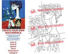 PICASSO Coloring Art Page Template For Adults By BowWowCreative